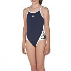 001331 701 - Costume Intero Bambina Team Stripe / NAVY-WHITE