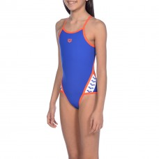 001331 831 - Costume Intero Bambina Team Stripe / NEON BLUE-NECTARINE