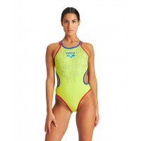 COSTUME INTERO DONNA ARENA ONE SHINY DOUBLE CROSS BACK / GREEN-NEON BLUE-RED